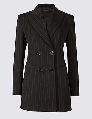 Striped 4 Button Blazer, NAVY MIX, catlanding