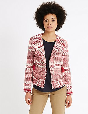 Cotton Rich Tassel Aztec Print Jacket, RED MIX, catlanding