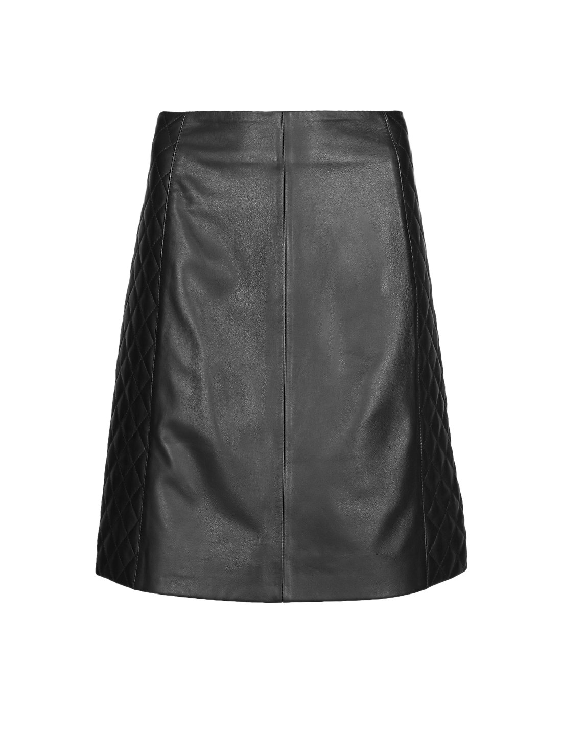 Leather Quilted A-Line Mini Skirt | M&S
