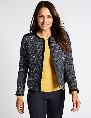 Textured 2 Pocket Jacket, BLUE MIX, catlanding