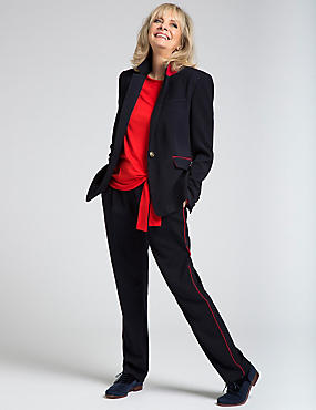 1 Button Contrast Piped Blazer, NAVY MIX, catlanding