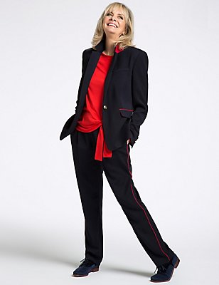 Contrast Piped Tapered Leg Trousers, NAVY MIX, catlanding