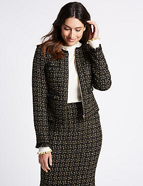 Textured Trophy Jacket, BLACK MIX, catlanding