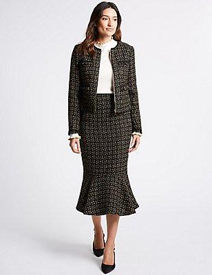 Textured Fishtail Pencil Midi Skirt, BLACK MIX, catlanding