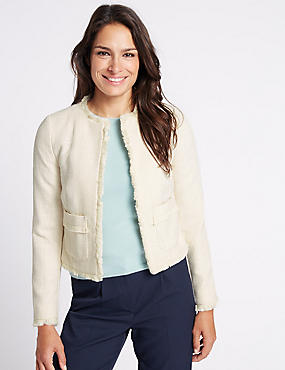 Textured Fringed Trophy Jacket, CREAM, catlanding