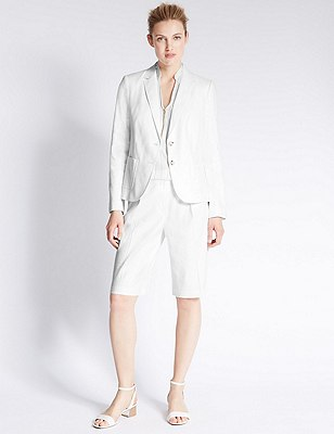 Linen Blend Peak Lapel 2 Button Blazer, WHITE, catlanding