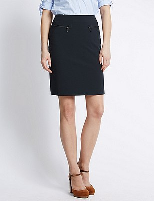 Twin Zip Pockets A-Line Mini Skirt, NAVY, catlanding