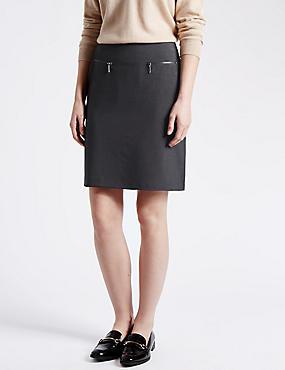 Twin Zip Pockets A-Line Mini Skirt, CHARCOAL, catlanding