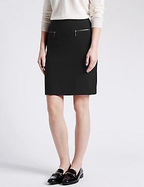 Twin Zip Pockets A-Line Mini Skirt, BLACK, catlanding