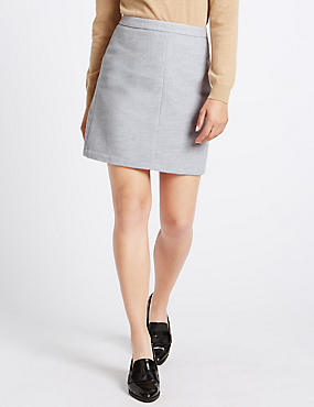Mini A-Line Skirt with Wool, GREY, catlanding