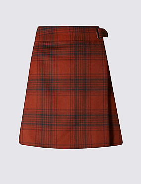 Wrap Checked A-Line Mini Skirt, RUST MIX, catlanding