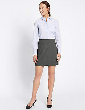 Straight Mini Skirt, CHARCOAL, catlanding