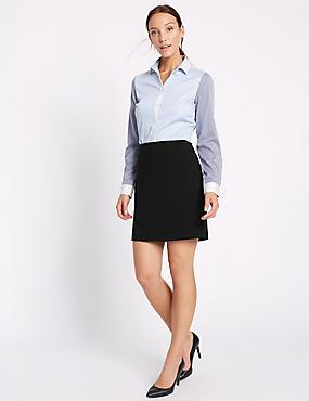 Straight Mini Skirt, BLACK, catlanding