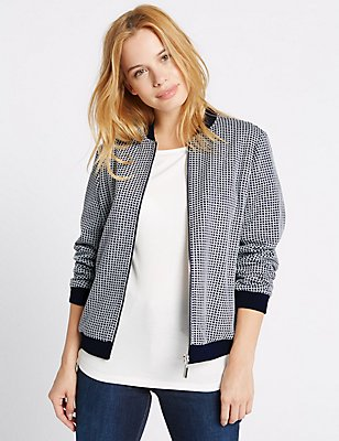 PETITE Checked Bomber Jacket, NAVY MIX, catlanding