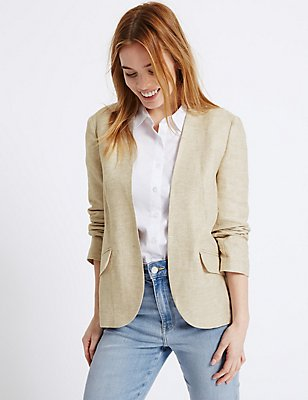 PETITE Linen Rich Patch Pocket Jacket, BEIGE MIX, catlanding