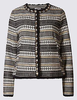 PETITE Cotton Blend Fringe Detail Jacket, BLACK MIX, catlanding