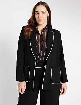 PLUS Contrast Piped Jacket, BLACK MIX, catlanding