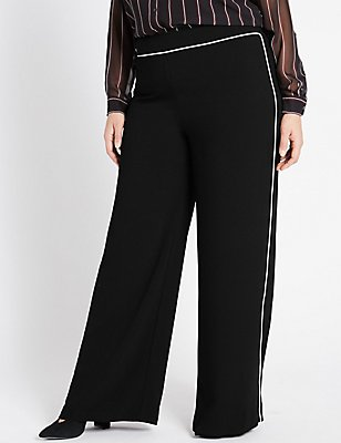 PLUS Piped Palazzo Wide Leg Trousers, BLACK MIX, catlanding