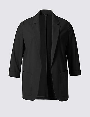 PLUS Patch Pocket Jacket, BLACK, catlanding