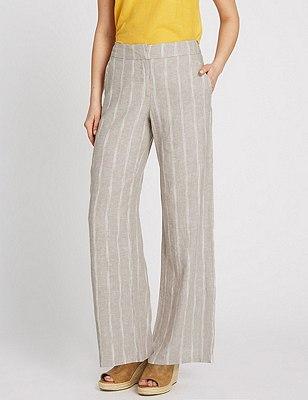 Linen Blend Striped Wide Leg Trousers, STONE MIX, catlanding