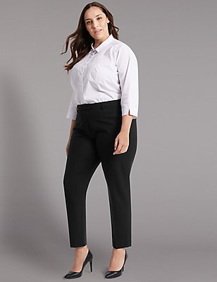 PLUS Wool Blend Tapered Leg Trousers, BLACK, catlanding