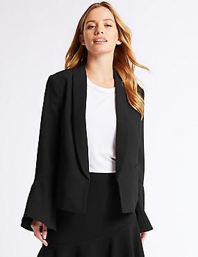 PETITE Frill Sleeve Blazer , BLACK, catlanding