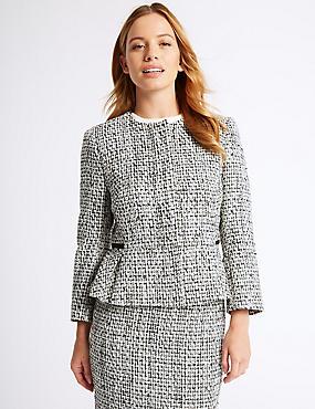 PETITE Cotton Blend Textured Blazer , WHITE MIX, catlanding