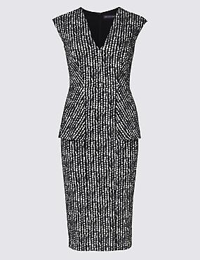 PETITE Printed Peplum Bodycon Dress, GREY, catlanding