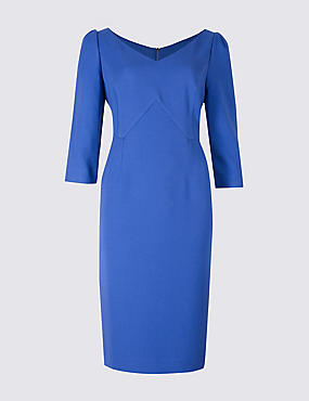 PETITE 3/4 Sleeve Bodycon Midi Dress, BLUE, catlanding