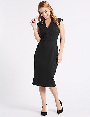 PETITE Ponte Bodycon Midi Dress, BLACK, catlanding
