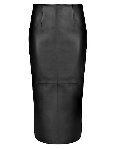 Luxury Leather Long Pencil Skirt | M&S