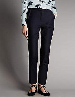 Cotton Rich Grosgrain Tapered Leg Trousers, NAVY, catlanding