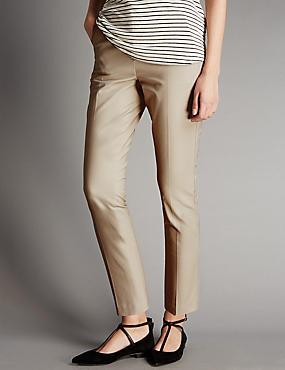 Cotton Rich Grosgrain Tapered Leg Trousers, NEUTRAL, catlanding