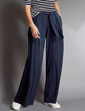 Hose mit weitem Bein und Gürtel , MARINEBLAU, catlanding