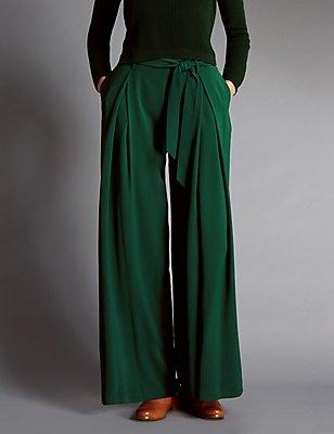 Wide Leg Belted Trousers , GREEN, catlanding