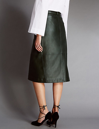 Leather Belted A-Line Wrap Skirt | M&S