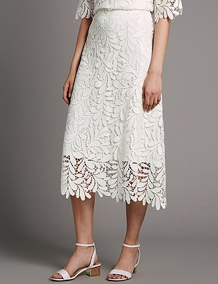 Lace A-Line Skirt, SOFT WHITE, catlanding