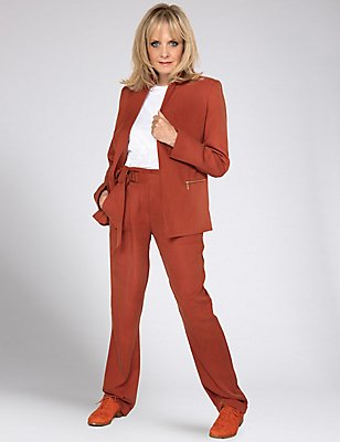 Belted Straight Leg Trousers, RUST, catlanding