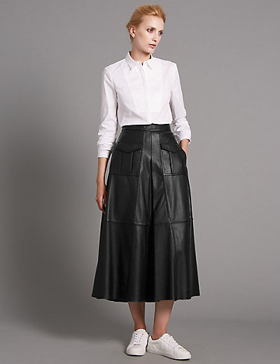 Leather Midi Skirt | M&S