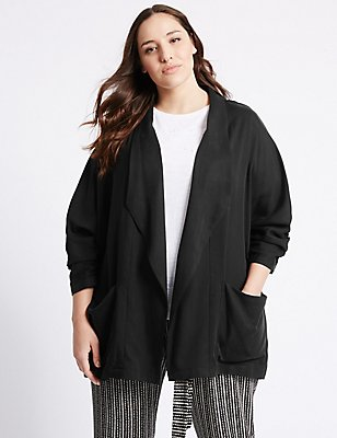 PLUS Drape Waterfall Jacket, BLACK, catlanding