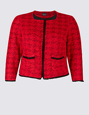PLUS Dogstooth Contrasting Edge Jacket, RED, catlanding