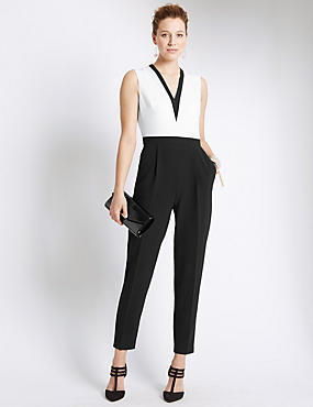 Monochrome V-Neck Jumpsuit