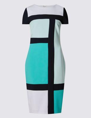 Прямое платье с контрастным дизайном колор блок