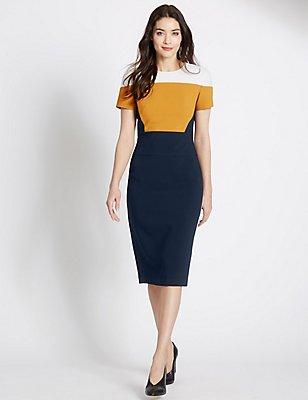 Colour Block Shift Dress, NAVY MIX, catlanding