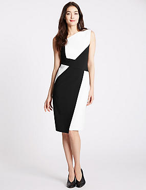 Panel Shift Dress, BLACK MIX, catlanding
