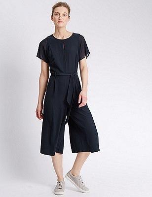 Belted Culotte Jumpsuit, NAVY, catlanding