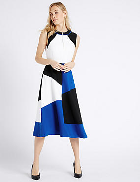 Colour Block Midi Dress, BLACK MIX, catlanding