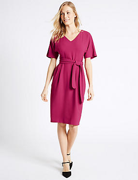 Kimono Tie Short Sleeve Shift Dress, RASPBERRY, catlanding
