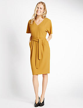 Kimono Tie Short Sleeve Shift Dress, DARK GOLD, catlanding