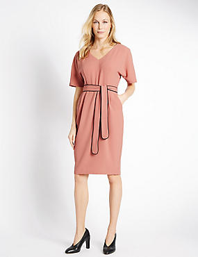 Kimono Tie Short Sleeve Shift Dress, BURNT SIENNA, catlanding